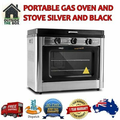 Portable Gas Oven Outdoor Camping 2 Burner Stove Silver & Black 2 YEARS WARRANTY