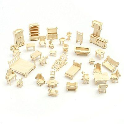34Pcs/1 Set Vintage Wooden Furniture Dolls House Miniature For Children Gift