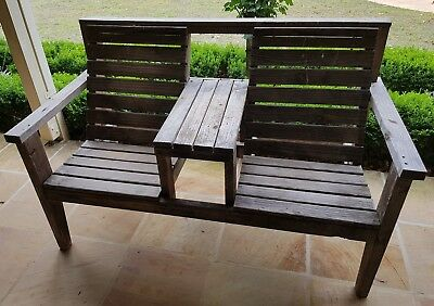 Jack and Jill bench seat wooden outdoor setting