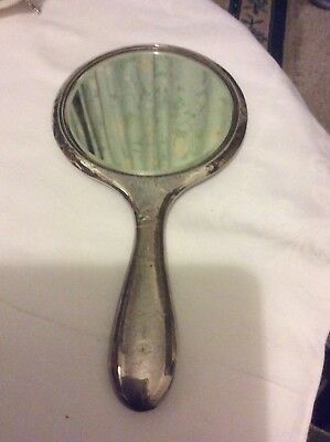 Antique Solid Silver Bevel Hand Mirror