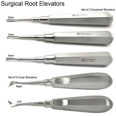 Set of 5 Cryer Coupland Surgical Root Elevators Dentist Teeth Extraction Tools