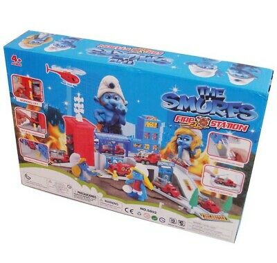The Smurfs Fire Station Kid Action Figures Playset Car Diecast Vehicle Truck Toy