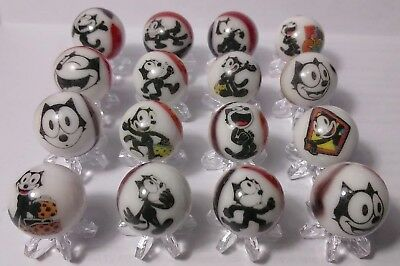 Felix the Cat GLASS MARBLES 5/8 SIZE COLLECTION LOT with stands