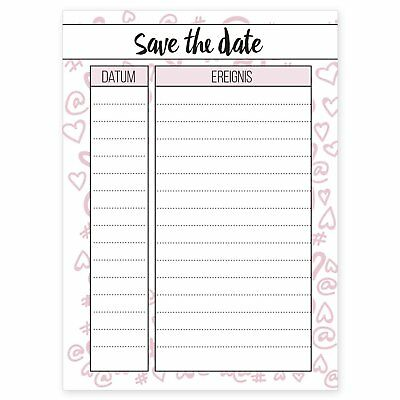 "Notizblock ""Save the Date"" DIN A6 Cupcakes & Kisses Notizen 50 Blatt Block"
