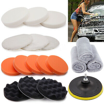 Car Polisher Polish Polishing Buffer Sander Waxer Sponge Pad Kit Drill Adapter