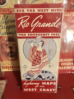 Rare Rio Grande Oil Co Independent Road Map Service Station - Red Hat Gas Can