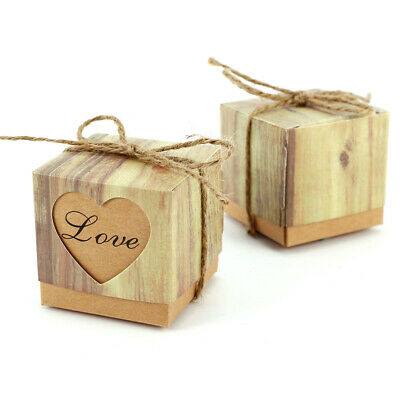 50-100 Hearts in Love Rustic Kraft Candy Box Rustic Wedding Favor Gift Boxes