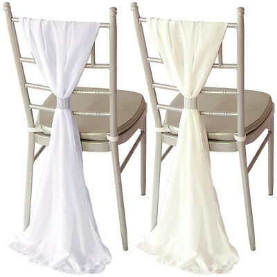 Pack of 10 Pieces Wedding Chiffon Chair Cover Hood And Tail Set For Sale