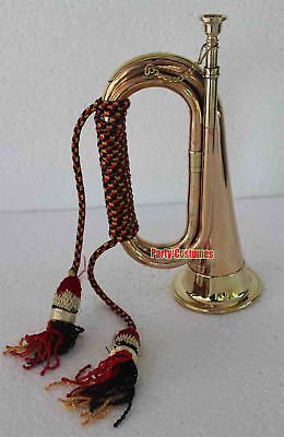 Bugle Copper and Brass for Parade Good Decor with Cord Rope Tassel
