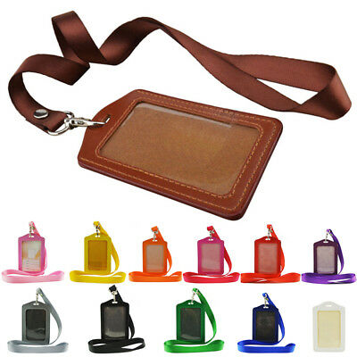 PU Leather Pocket ID Card Pass Badge Holders Case W/ Neck Strap Lanyard Useful