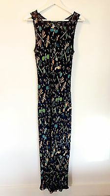 Betsey Johnson Bias Cut Floor-Length Dragonfly Dress w/Slip - Vintage 90s