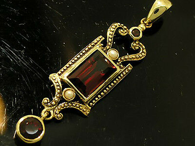 CP419- Genuine 9ct Yellow Gold NATURAL Garnet & Pearl Drop Pendant Vintage style