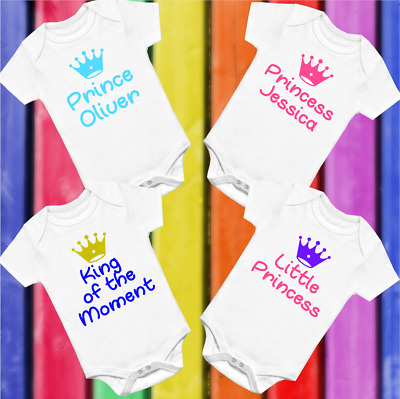 Prince Princess Crown Personalised Baby Vest Babygrow  Shower Gifts Boy Girl