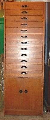 Vintage Tall Oak Collectors Cabinet 12 Drawers Medals Coins Minerals Toy Car Etc