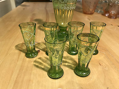 Beautiful Unique Hand Painted Green Glass Decanter and Aperitif Glasses - AD