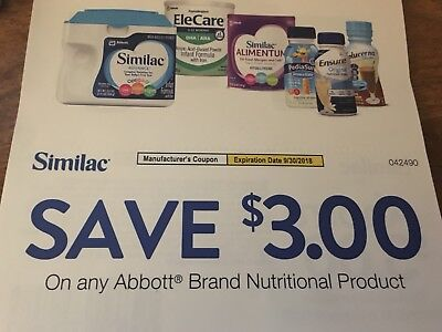 10 X $3 Similac Abbott Certificates For Infant Formula $18 Value Exp 9/2018