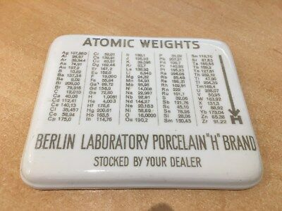 """Antique Germany DRGM Atomic Weights Table Porcelain """"Berlin Laboratory"""""""