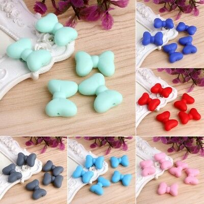 5Pc Bowknot Silicone Teething Bead DIY Chew Pendent Necklace Baby Teether Making