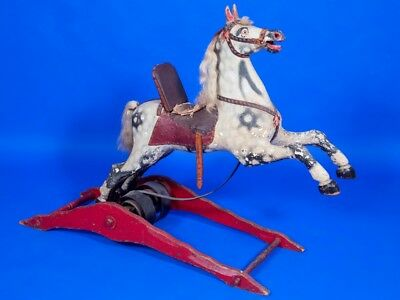 Antique Crandall Spring Rocking Horse Can Store For Christmas