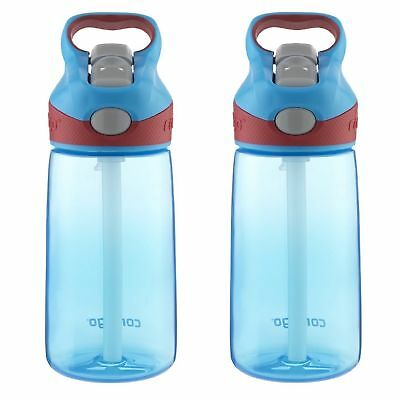 Contigo AUTOSPOUT Striker Kids Straw Water Bottle 14oz Electric Blue (2-Pack)