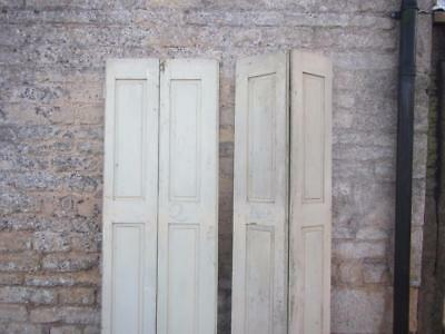 VINTAGE WOODEN SHUTTERS FRENCH FOLDING BI FOLD RECLAIM CLADDING 203cM TALL