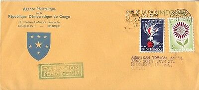 Belgium - Air Mail Cover Brussels to Milwaukee, Wisc. USA (Air Mail SC) 1965