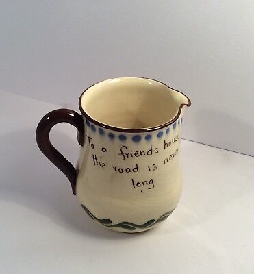Babbacombe Pottery Cornwall, Friends,  Motto Ware,Country Cottage House Milk Jug