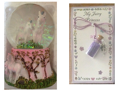 1 x SNOWGLOBE Waterball With UNICORNS Inside & 1 x FAIRY DUST Necklace PURPLE