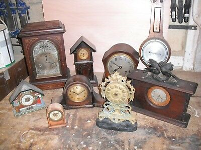 job lot of clocks some work some for spares/and 2 barometers