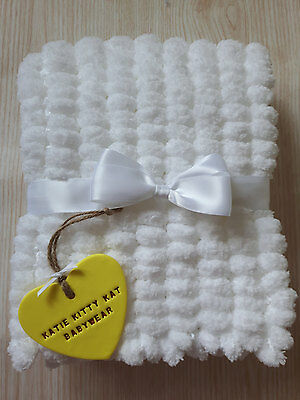 White Hand Knitted Pom Pom Marshmallow Baby Blanket Ready To Be Posted