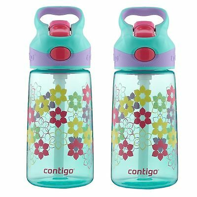 Contigo AUTOSPOUT Striker Kids Straw Water Bottle 14oz Ultramarine Lily (2-Pack)