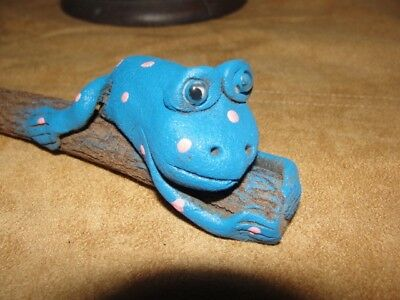 """blue Frog"" Wood Carved Pencil From Okinawa Japan"