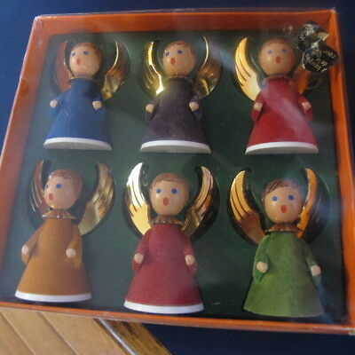 6  ANGELS West Germany Christmas Flocked Wings Box