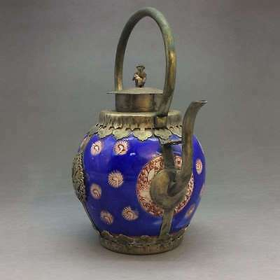 Handmade flagon of blue and white porcelain in China Outsourcing Tibet silver