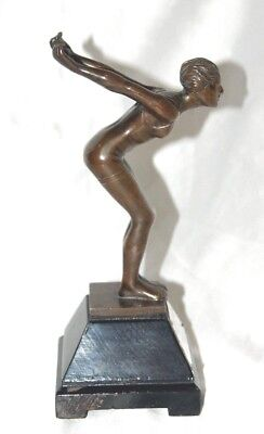 Vintage bronze female figure swimming trophy on wood stand with plaque 1936