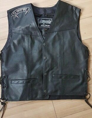 womens black leather bikers waistcoat size medium used