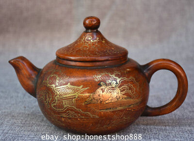 "7"" Marked Old China Yixing Zisha Gilt Dynasty People Man Wine Tea Pot Teakettle"