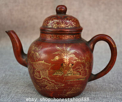 "7"" Marked China Yixing Zisha Pottery Gilt People Man Landscape Teapot Teakettle"