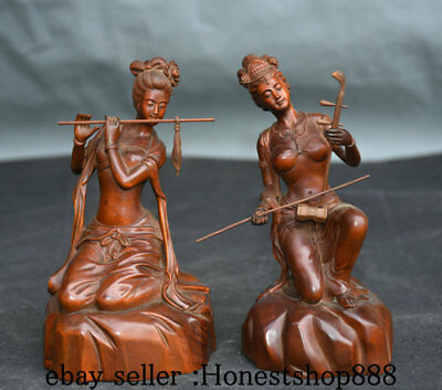 """5.6"""" Old China Boxwood Wood Carving Beauty Woman Perform Flute Erhu Statue Pair"""