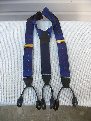 Vintage blue and red english style suspenders made in England.