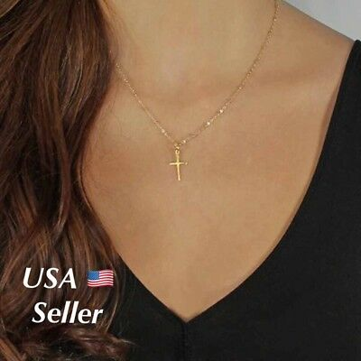 Women's Gold Plated Simple Small Tiny Cross Pendant Necklace Beaded Chain18""