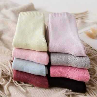 women's 100% Cotton Thickening Socks fashion Solid color Casual Socks