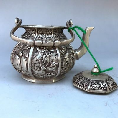 Chinese ancient Tibet silver hand kettle Carved flowers and birds fish figure