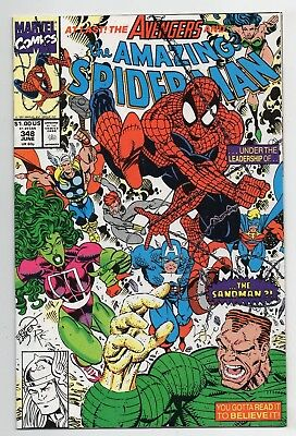 Marvel Comics The Amazing Spider-Man #348 Avengers X-Over Copper Age