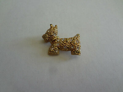 Scottish Terrier Dog Westie Cairn Terrier Gild Tone Pin with glass stones
