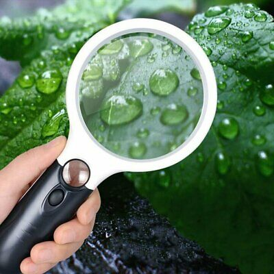 45X Handheld Magnifier Glass Lens With LED Light Magnification Reading Fine Work