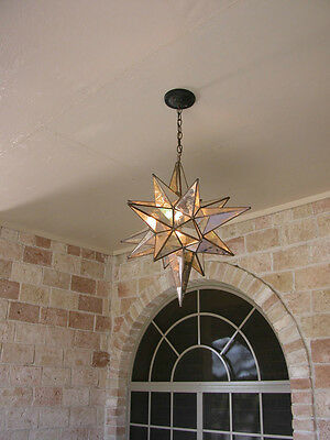 """Moravian 24"""" clear and antique mirror Glass Star light / lamp"""