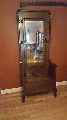 ANTIQUE OAK  Hall Tree with Bench