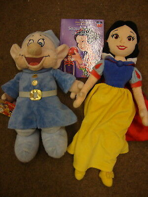 Disney Store Exclusive Snow White plush Doll and Blue Dopey Stamped soft toys