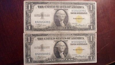 lot of (2) one dollar north africa silver certificates w/ consecutive serial #s